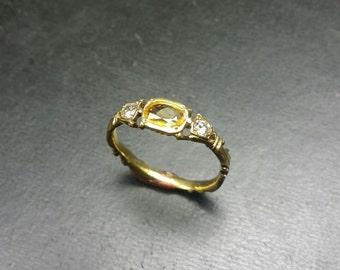 14K Gold Georgian Style diamond and yellow sapphire ring