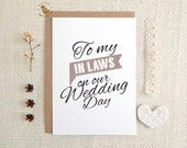 Wedding day cards.  To my In Laws on our Wedding day Card.  MC270