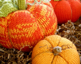 PATTERN-BOOKLET. A Knit Pumpkin Patch Pattern. Knit Pumpkin. No Felting Required.