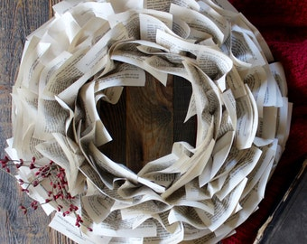 "Dickens Book Paper Wreath -- 17"" Christmas Wreath Made from Pages of A Christmas Carol"
