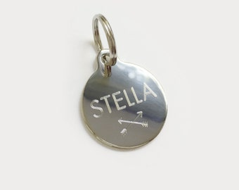 Custom Engraved Pet Tag Round Gold Plated or Nickel Chrome Silver for Your Pet Dog or Cat Pet ID Pet necklace - Standard Round Shape