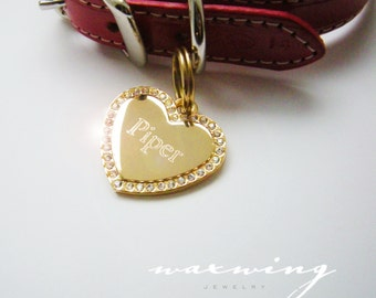 Bling Crystal Heart Pet ID Tag Gold Plated or Nickel Chrome Silver Custom Engraved for Your Pet Dog Personalized Sz Medium Sparkly Keychain