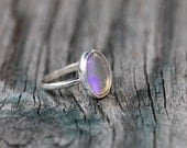 Nevada Transparent/Purple Opal Stacking Ring size 7.5. Antique Stone. Sterling Silver. One of a kind.