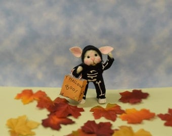 "Needle Felted ""Trick Or Treat"" Bunny Skeleton!.............Free Shipping In The U.S."
