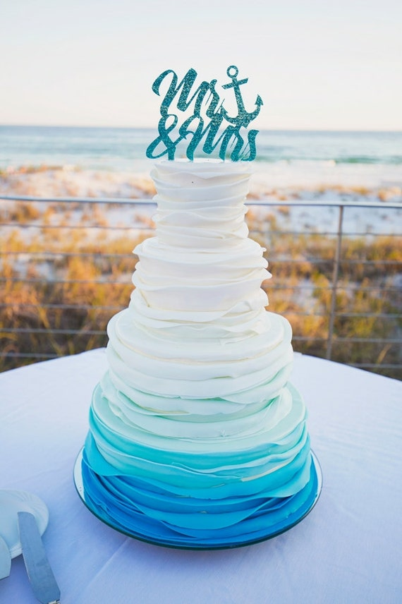 Nautical cake topper mr mrs wedding cake topper in glitter like this item junglespirit Image collections