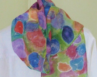 Hand painted  silk scarf Silk design byJane floral purple orange blue toned  Canadian 8x54 design