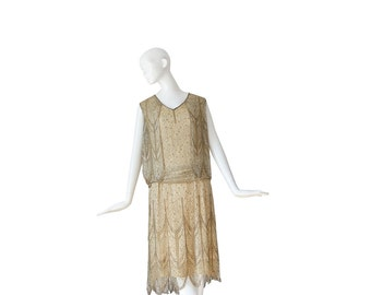 1920s Wedding Dress • 20s Flapper Dress • Lace Deco • Antique Evening Dress