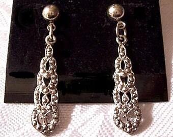 Oval Nailhead Dangles Pierced Stud Earrings Silver Tone Vintage Long Round Top Bead Surgical Steel Post