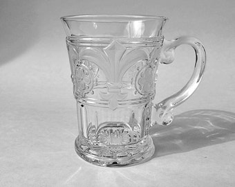 A Pair of Glass Beer Mugs Glass Beer Steins Vintage Glass Barware Crystal Clear Glass Mugs  Octoberfest