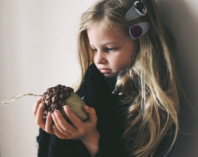 Featured listing image: Felt Hair Clip woodland animals Fall Accessories, Bear and pompom, giddyupandgrow