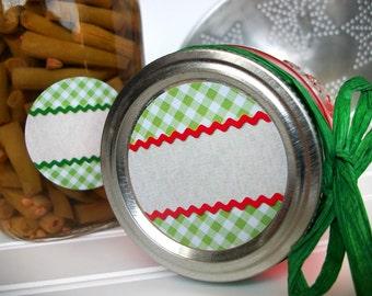 Scalloped Gingham canning jar stickers, round mason jar labels for fruit & vegetable preservation, jam jelly jar labels for farmers market