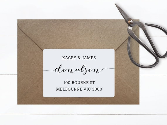 RECTANGULAR ADDRESS STICKERS    Return Address, Personalised Adhesive, Customised Label Tags, Typography, Monochrome Style, Minimalist