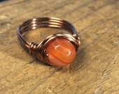 orange Red Line Agate gemstone stone , antique copper wire wrap wrapped ring - size 7.25 , 7 1/4 - rustic hippie men women unisex jewelry