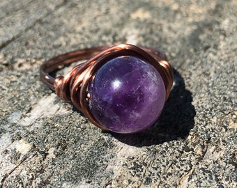 size 8.25 , 8 1/4 - Amethyst purple 10mm gemstone antique copper wire wrapped ring - stone - men women unisex jewelry metaphysical natural