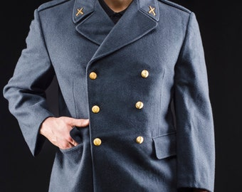 1960's AUTHENTIC Military Style Vintage Swedish Army - Air Force Wool Overcoat Coat by Top Rank Vintage ( Unissued to Excellent Condition)