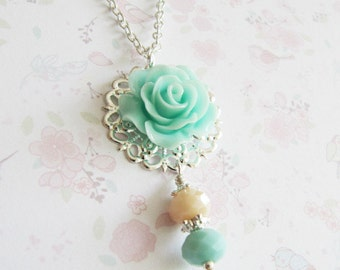 Blue Bridesmaid Necklace, bridesmaid jewelry gift, flower necklace, flower girl necklace, romantic wedding jewelry