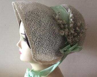 Regency/Victorian Straw Bonnet. Jane Austen. Handmade. Mint Green.