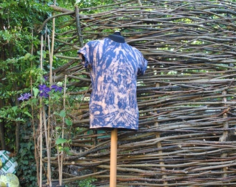 Medium Handmade Tie Dye Geometry T-Shirt Top Unisex Psychedelic Navy Peach Orange Hippy Festival Faerie Psy Symmetry