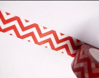 Red & white chevron Washi Tape 15mm WT241 zig zag