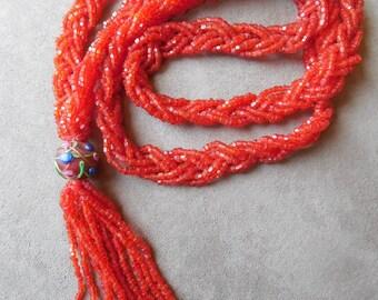 "82"" Long Vintage Red Seed Bead Flapper Lariat Necklace w/ Venetian Bead Tassel"