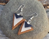 Leather Earrings Silver Handmade Triangle Earrings, Black Leather, Christmas Gifts, Gifts for her, Stocking Stuffer, Handmade Jewelry, Gifts