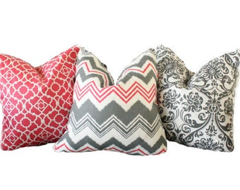 Raspberry/Gray Collection (Includes 3 Pillow Covers)