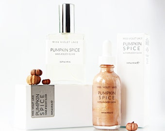 Pumpkin Spice Gift Set | Shimmer Lotion and Hair Perfume Body Mist Set | Autumn Gift | 100% natural & vegan