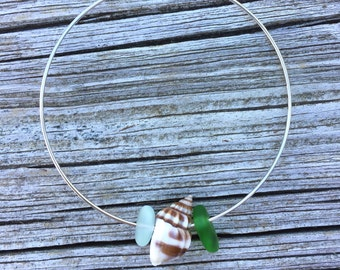 Sea Glass Mixed Colors Skinny Bangle by Wave of Life