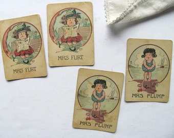Vintage Old Maid Card Game Playing Cards Mrs Flirt Mrs Plump Art Signed Phil Original Pair Toy Game Pieces Deck of Cards Beach Ocean Lover