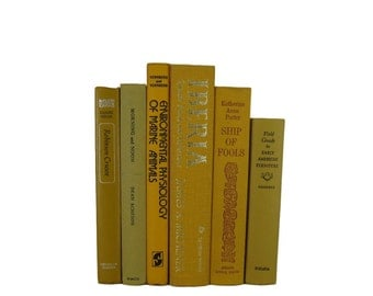 Vintage Books in  Shades of Yellow  Decorative Books Old Books , Yellow Wedding Decor, Book Home Decor