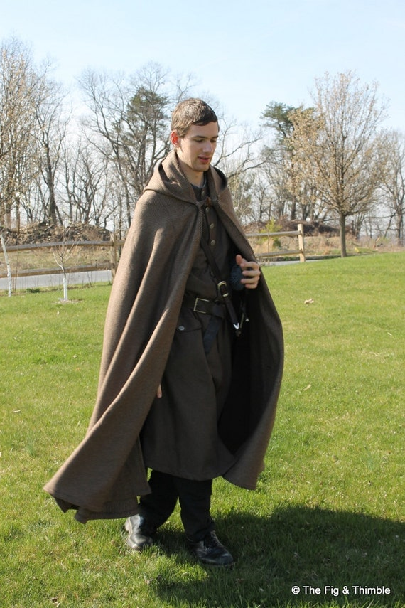 Heavy Weight 100 Wool Cloak With Hood Tan Brown Lord Of The