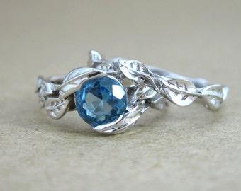 Leaf Engagement Ring Set, Blue Topaz Wedding Ring Set, Leaf Ring Wedding Set, Leaves Engagement Ring Bridal Set, Leaves Wedding Band Set