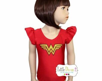 Wonder Women Leotard (Child) Flutter Sleeve Leotard