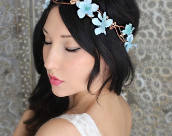 Boho Blue & Gold flower  crown, wedding accessory, bridal headpiece, wedding flower crown, bohemian, wedding headband, bridal hair