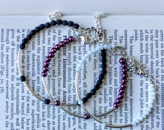 Crown pearl bracelet | purple bracelet pearl bracelet pearl bridal jewelry purple pearls silver minimalist bracelet minimalist jewelry