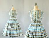 Vintage 50s Dress/ 1950s Cotton Dress/ Blue Heart Print Cotton Dress w/ Double Bow Waist Belts M/L