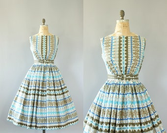 Vintage 50s Dress/ 1950s Cotton Dress/ Blue & Tan Heart and Floral Print Cotton Dress w/ Bow Belt M/L