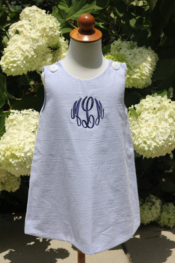 Girls Monogrammed Blue Seersucker Jumper Dress