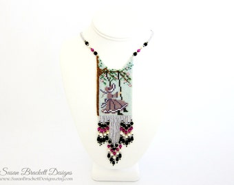 Beaded Amulet Necklace Bohemian Necklaces Victorian Girl Boho Chic Statement Jewelry Fashion Piece Cocktail Shabby Chic  - CLEARANCE ITEM