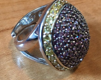 Heavy Colorful STERLING SILVER Crystal Huge 19.0 Grams Lilac Lavender Yellow Cubic Zirconia Ring Size 8 Adjustable