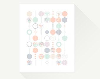 "Mobile Hexagons. 8 x 10"". Geometric art print. Modern decor for kids room or nursery."