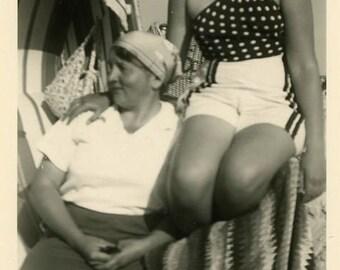 "Vintage Photo ""Polka Dot Summer Girl"" Beach Outfit Snapshot Antique Photo Old Black & White Photograph Found Paper Ephemera Vernacular - 25"