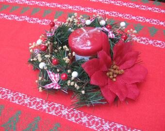 Small Christmas Centerpiece, Rustic Centerpiece, Primitive Decor, Centerpiece with Candle, Red Table Centerpiece, Christmas SnowNoseCrafts
