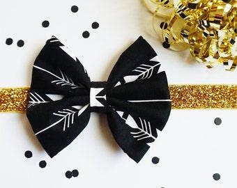 Black Gold Baby Headband, Newborn Headband, Black White Bow, Infant Headband Toddler, Boho Headband, Arrows White Black Gold Headband