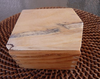 Handcrafted Jewelry/ Keepsake Box in reclaimed Barn Wood with Spalted Basswood Lid