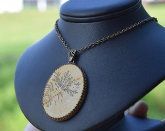 "Dendrite Necklace , ""first frost"", Geology & Jurassic-Era Dendritic Limestone Jewelry, Nature, Fossil, Prehistoric, Ancient, Stone"