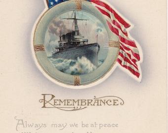 Remembrance on Decoration Day- 1910s Antique Postcard- American Flag- Civil War Memorial Day- Battleship Steamer- B B London- Paper Ephemera