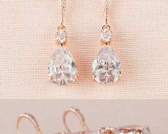 Rose Gold Bridal Earrings, Crystal Wedding earrings, Pearl Wedding Earrings, Bridal Jewelry,  Bridesmaids, Lilliana Bridal Earrings