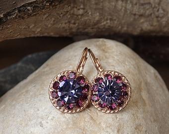 Purple fuchsia drop earrings, Purple swarovski earrings, Bridesmaids jewelry gift, Rose gold pink purple earrings, Round crystal earrings