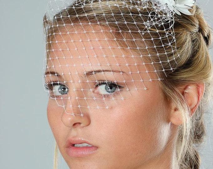 Bridal Hair Comb Black & White Flower Comb W/ Blusher Birdcage Veil Headpiece Head Piece Updo Hair Style White Enamel Flower 315